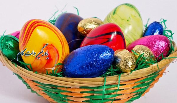 تخم مرغ رنگی در سبد