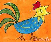 نقاشی خروس آوازه خوان برای کودکان