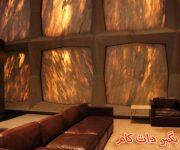 عبور نور از دیوار کتابخانه ای از جنس سنگ مرمر شفاف