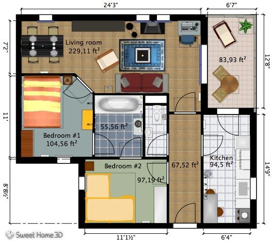 خانه رویایی تری دی ( sweet home 3D)