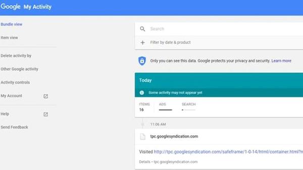 پاک کردن فعالیتها در گوگل