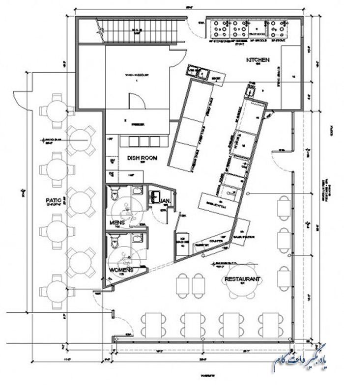 فضای باز بیرون سالن در طراحی نقشه رستوران