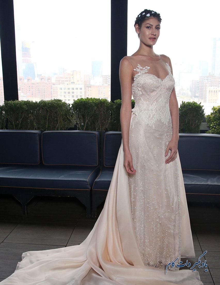 لباس عروس رنگی دنباله دار مدل 2018