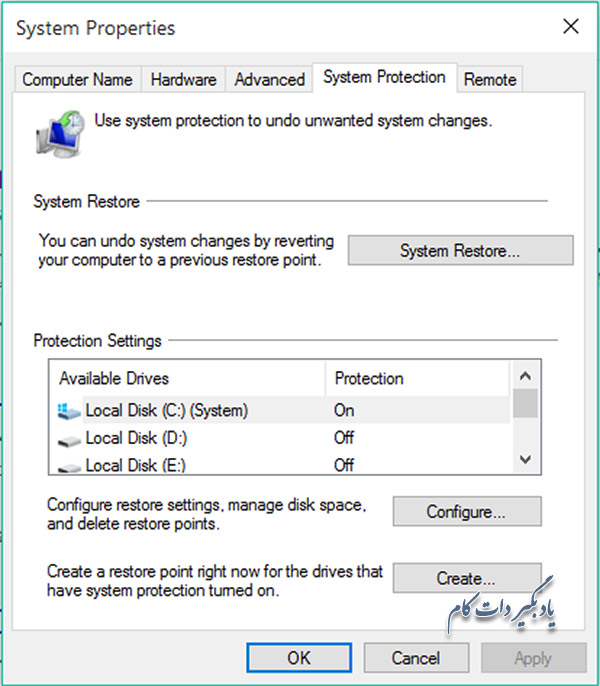 مراحل system restore در ویندوز 10