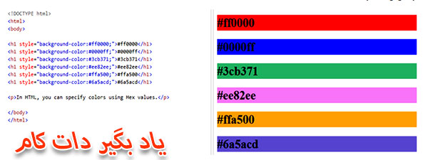کد ترکیبی #rrggbb در روشهای تعیین رنگ css
