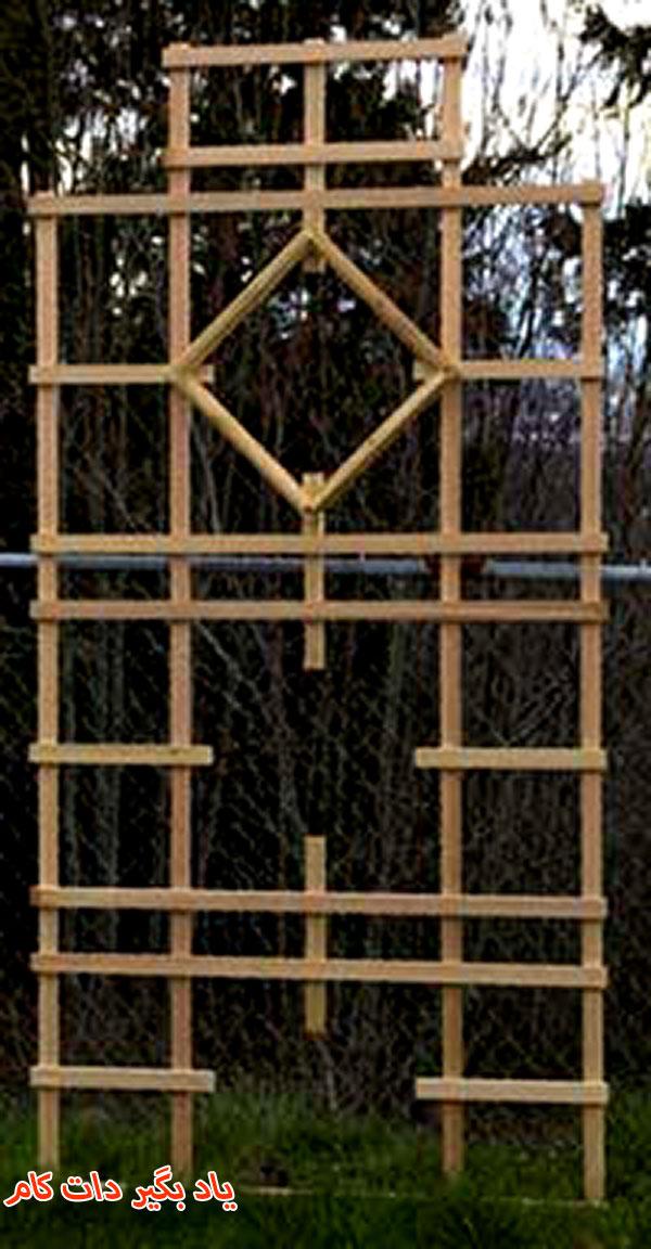قاب چوبی مربع لوزی برای گیاهان رونده