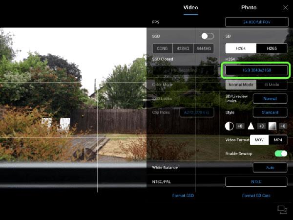 تنظیم رزولوشن UHD 4k برای ضبط ویدئو