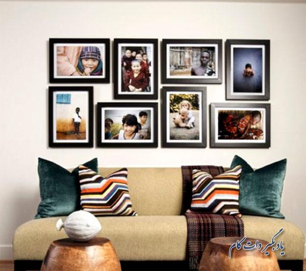 ایده نصب عکس خانوادگی روی دیوارقابهای مستطیلی