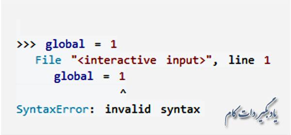 خطای نحوی پایتون به عنوان نام یک متغیر