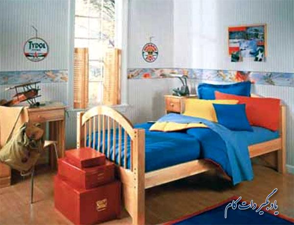 : قرمز، آبی و زرد رنگ های اصلی در دیوار اتاق کودک