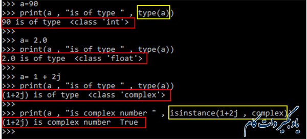 بررسی نوع یک متغیر عددی در پایتون