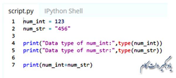 رفتار پایتون در جمع بستن یک عدد صحیح با یک رشته