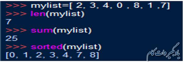 مرتب سازی یک لیست از تابع sorted