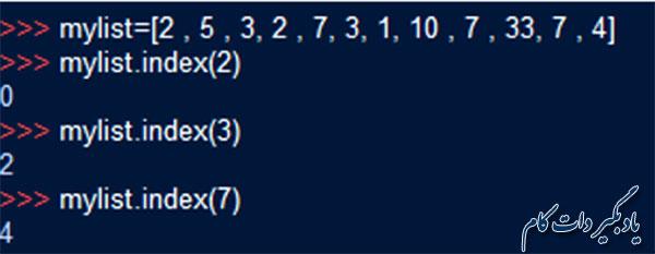 تابع index() در لیست