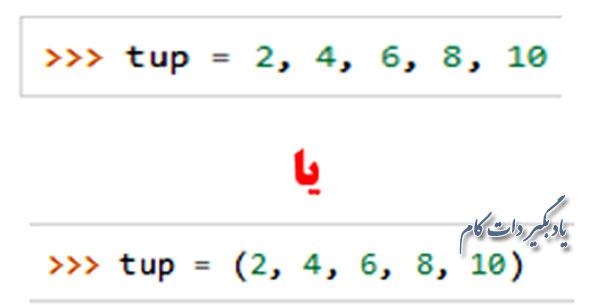 تاپل ها را با پرانتز می نویسند.