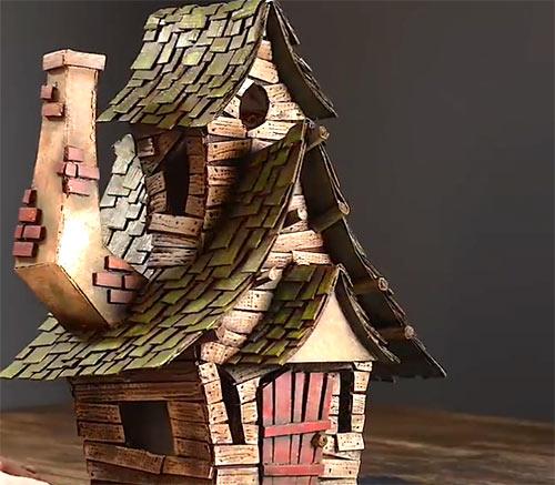 ساخت خانه مرموز زن جادوگر با کارتون های دور ریز