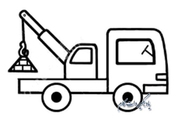 آموزش نقاشی کامیون جرثقیل دار